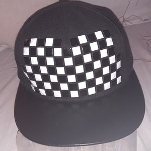 Claire's black & white checkered tile front cap